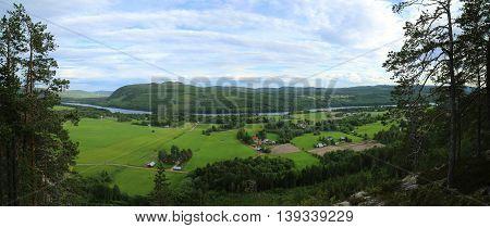 Outlook On Agricultural Landscape From Mount Krokvaag In Sweden