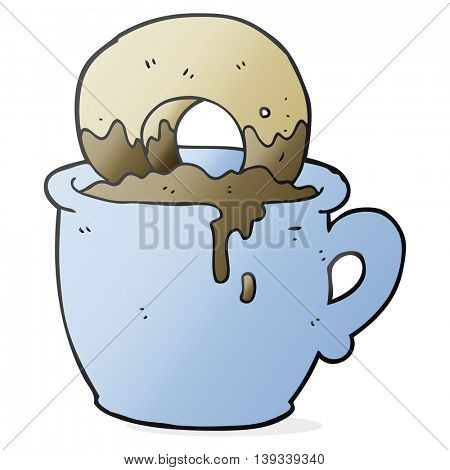 freehand drawn cartoon donut dunked in coffee