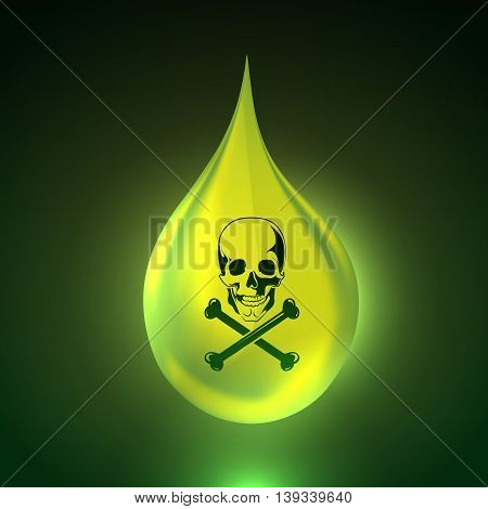 Vector illustration of acid background with big realistic drop. picture with skull and bones. Bright green liquid