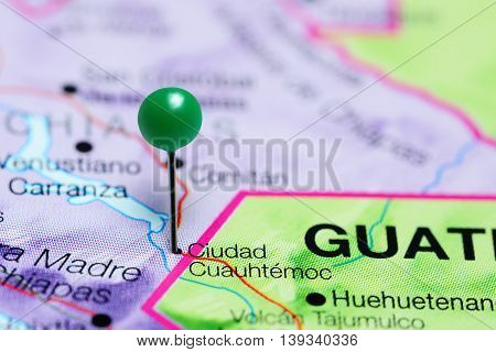 Ciudad Cuauhtemoc pinned on a map of Mexico