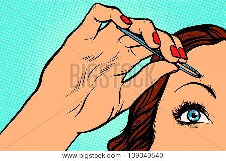 woman plucking eyebrows depilating with tweezers pop art retro vector. Makeup and beauty