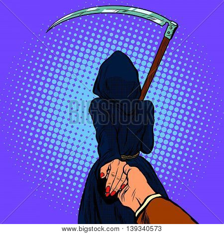Follow me, the Grim Reaper leads pop art retro vector. Death and mythology