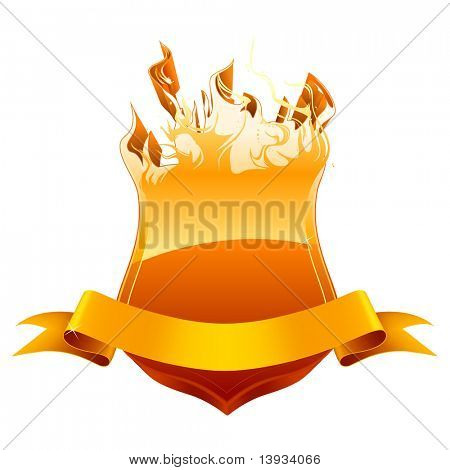 Burning shield emblem, vector