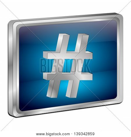blue Hashtag Button on White Background - 3D illustration