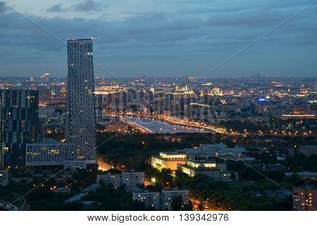 Skyscraper on Mosfilmovskaya street in summer evening in Moscow, Russia