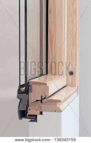 New skylight or roof window profile closeup