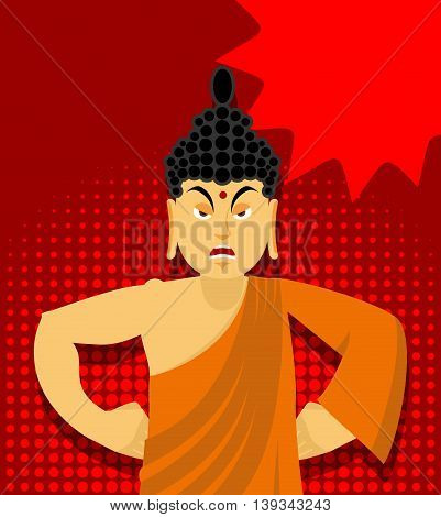 Angry Buddha In Pop Art Style. Indian God Wrathful. Supreme Teacher For Buddhists. Holy Man In Orang