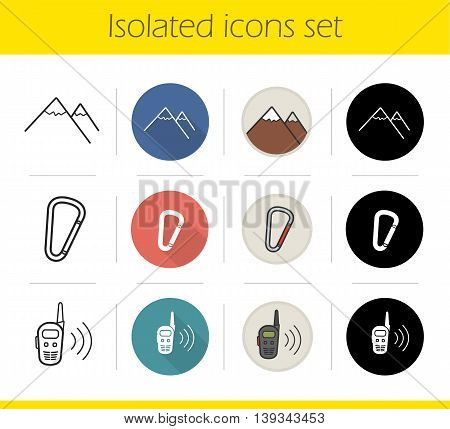 Hiking icons set. Flat design, linear, black and color styles. Mountaineering equipment. Mountain range, carabiner, spring hook, radio set. Climbing isolated vector illustrations