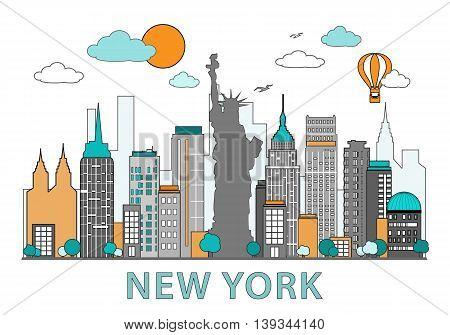 Thin line flat design of New York city. Modern NY skyline with landmarks vector illustration, isolated on white background