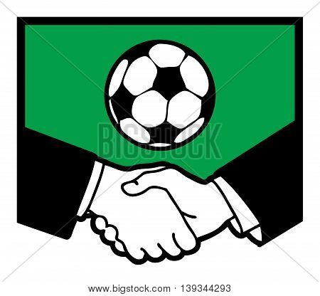 Football symbol and business handshake, vector illustration