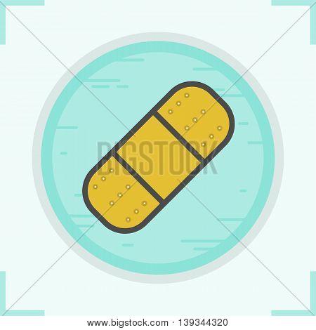 Bandaid color icon. Adhesive bandage. Plaster vector isolated illustration