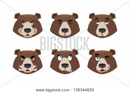 Emotions Bear. Set Expressions Avatar Grizzly. Animal Good And Evil. Beast Discouraged And Cheerful