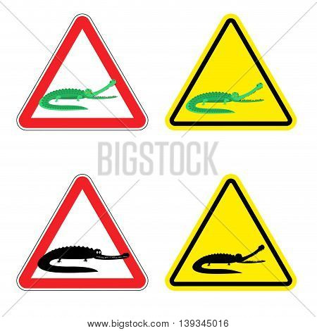 Warning Sign Of Attention Crocodile. Dangers Yellow Sign Aggressive Alligator. Cayman On Red Triangl