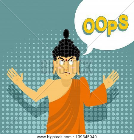 Surprised Buddha Says Oops. Perplexed Indian God. Style Of Pop Art. Supreme Teacher For Buddhists. H
