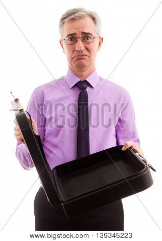 Senior comedy sad businessman standing, close up