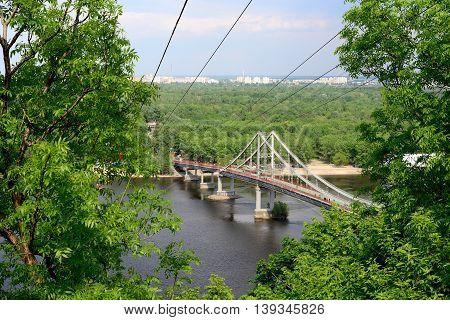 Footbridge over the Dnipro River in Kyiv, Ukraine