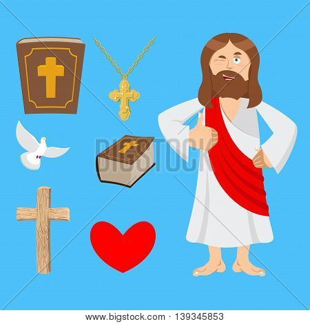 Jesus And Accessories. Holy Biblical Set. Son Of God And Bible. Cross And White Dove. Religious Sign