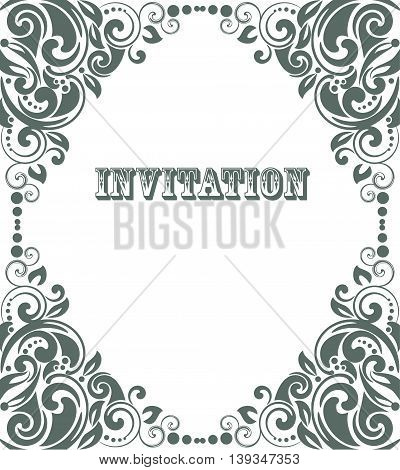 Background in retro style with vintage ornament frame