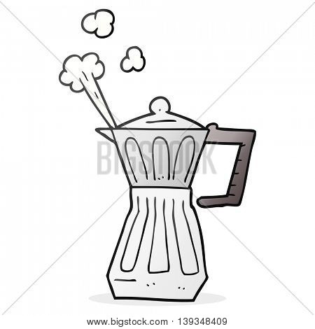 freehand drawn cartoon espresso stovetop maker