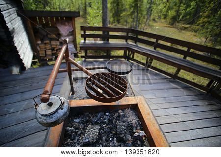 Cooking pit at resting place in Vackermyren the beautiful mire in Sweden.