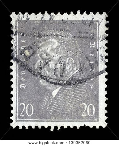 ZAGREB, CROATIA - JUNE 22: A stamp printed in the German Reich shows Friedrich Ebert (1871-1925), 1st President of the German Reich, circa 1928, on June 22, 2014, Zagreb, Croatia