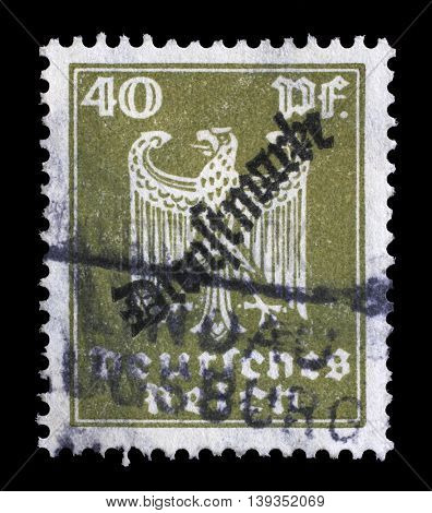 ZAGREB, CROATIA - JUNE 22: A stamp printed in Germany shows the Eagle, coat of arms of Germany, circa 1924, on June 22, 2014, Zagreb, Croatia
