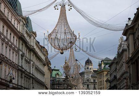 VIENNA, AUSTRIA - DECEMBER 09: Famous Graben street decorated for Christmas on December 09,2011 in Vienna, Austria