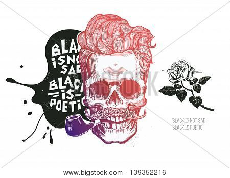 Skull. Hipster silhouette with mustache glasses and rose in teath on a colorful splash background. Vector illustration in modern engraving style. Perfect for t-shirt print, posters