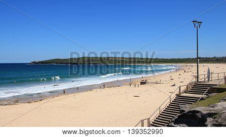Maroubra Beach. Azure blue Pacific. Beach in Sydney.