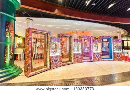 Taipa, Macau - February 4, 2015:  City of Dreams is a resort and casino along the Cotai Strip in the Cotai reclamation area in Macau, China. It is built, owned and managed by Melco Crown Entertainment, formerly known as Melco PBL Entertainment
