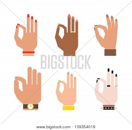 Okey hand success symbol, ok hand yes agreement.