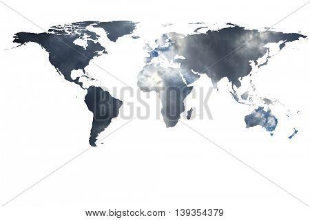 conceptual image of flat world map. NASA World map image used to furnish this image.