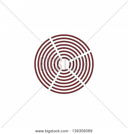 Crop Circle. Red flat simple modern illustration icon with stroke. Collection concept vector pictogram for infographic project and logo