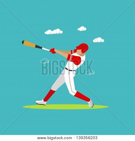 Baseball player with equipment. Sport concept vector illustration in flat style design. Baseball uniform, helmet, ball and bat. Design elements and icons.