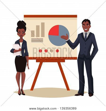 African American businessman and businesswoman holding presentation with white board cartoon style vector illustration isolated on white background. Black business man and woman at presentation