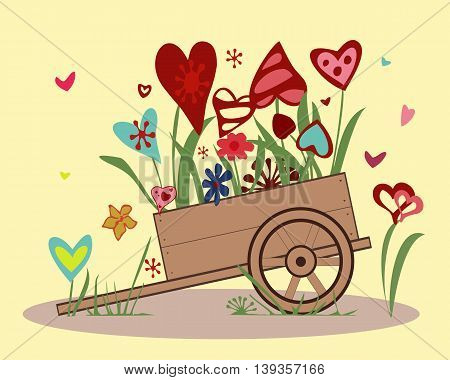 Flower arrangement from blooming hearts in the handcart.  Illustration symbolizing joy, love and happiness.  Perfect for greeting card. Horizontal location. Vector.