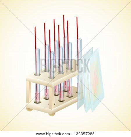Stand tubes tests and glasses to the slides. Laboratory for tests. Vector illustration.
