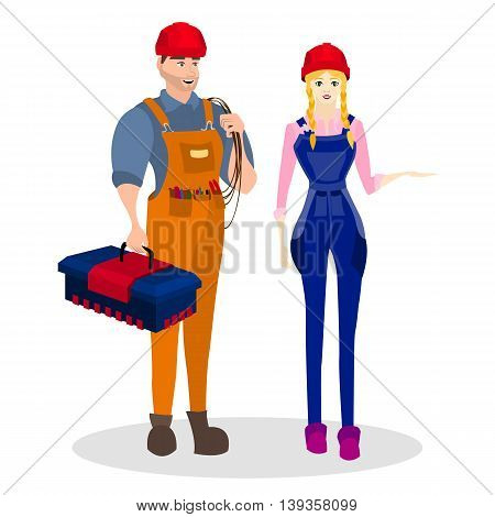Occupation builder. Builders of a man and woman with construction tools, such as tool box and a rope, and others. Worker builder costume. Vector illustration.