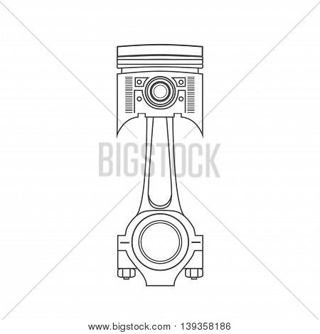 Iron car piston in a drawing style. vector illustration.