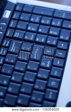 Blue bussines keyboard close up enter, bussines concept