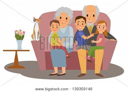 Big Family. Happy family whith grandchildrens and grandparents sitting on the sofa whith cat