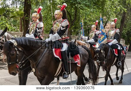 ROME - JUNE 01: the traditional Carabinieri Band Corazzieri have a parade on June 01 2014 in Rome Italy