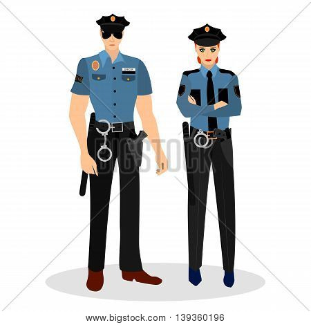Police man and woman in suits and with the police badges. Occupation police. Vector illustration.