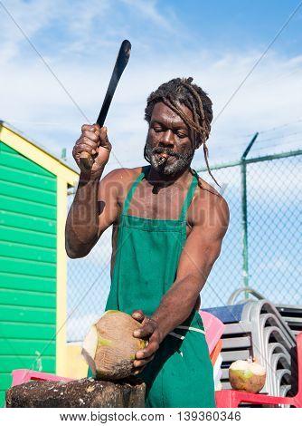 Nassau Bahamas - January 07 2016: african american muscular man break big fresh raw coconut with sharp machete smoking cigar outdoor in green apron