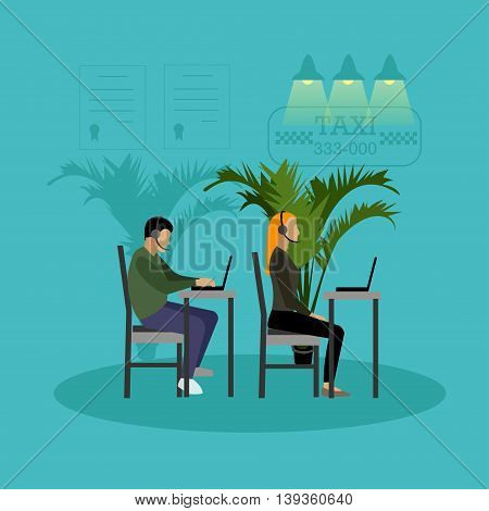 Call center vector banner. Customer service and support company concept. People work in call center. Man and woman in headsets.