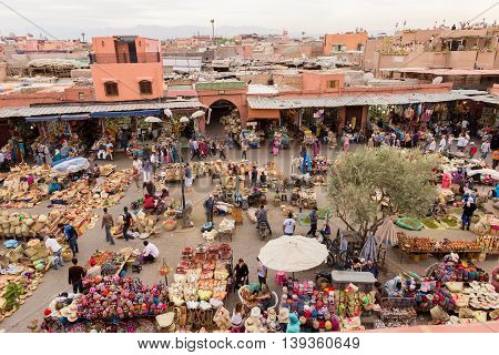 MARRAKECH MOROCCO - APR 28 2016: Berber market in the souks of Marrakech