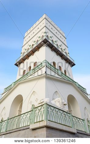 The White Tower in Tsarskoe Selo suburb of St.Petersburg Russia.
