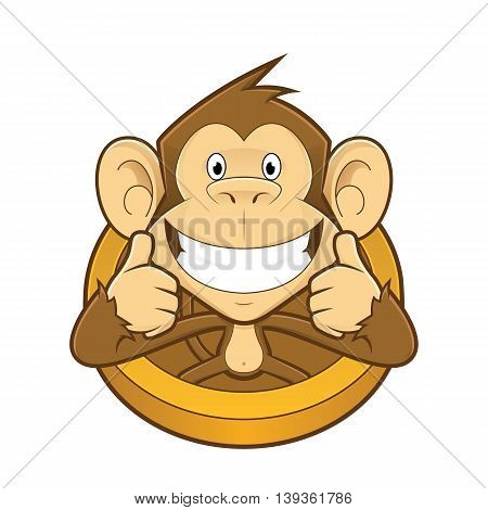 Clipart picture of a monkey cartoon character giving two thumbs up