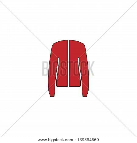 Jacket. Red flat simple modern illustration icon with stroke. Collection concept vector pictogram for infographic project and logo