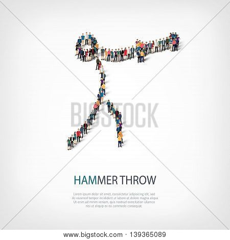 Isometric set of styles, people, sports, hammer throw , web infographics concept of a crowded square, flat 3d. Crowd point group forming a predetermined shape. Creative people.  illustration.